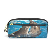 COOSUN Pair Of Dolphins Dancing Portable PU Leather Pencil Case School Pen Bags stationery Pouch Case Large Capacity Makeup Cosmetic Bag