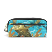 COOSUN Sea Turtles Portable PU Leather Pencil Case School Pen Bags stationery Pouch Case Large Capacity Makeup Cosmetic Bag