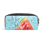 COOSUN Watermelon And Portable PU Leather Pencil Case School Pen Bags stationery Pouch Case Large Capacity Makeup Cosmetic Bag