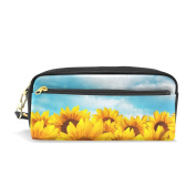 COOSUN Sunflower Field Portable PU Leather Pencil Case School Pen Bags stationery Pouch Case Large Capacity Makeup Cosmetic Bag