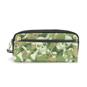 COOSUN Skull Camouflage Pattern Portable PU Leather Pencil Case School Pen Bags stationery Pouch Case Large Capacity Makeup Cosmetic Bag