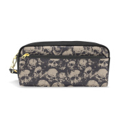 COOSUN Grunge Skulls Portable PU Leather Pencil Case School Pen Bags stationery Pouch Case Large Capacity Makeup Cosmetic Bag