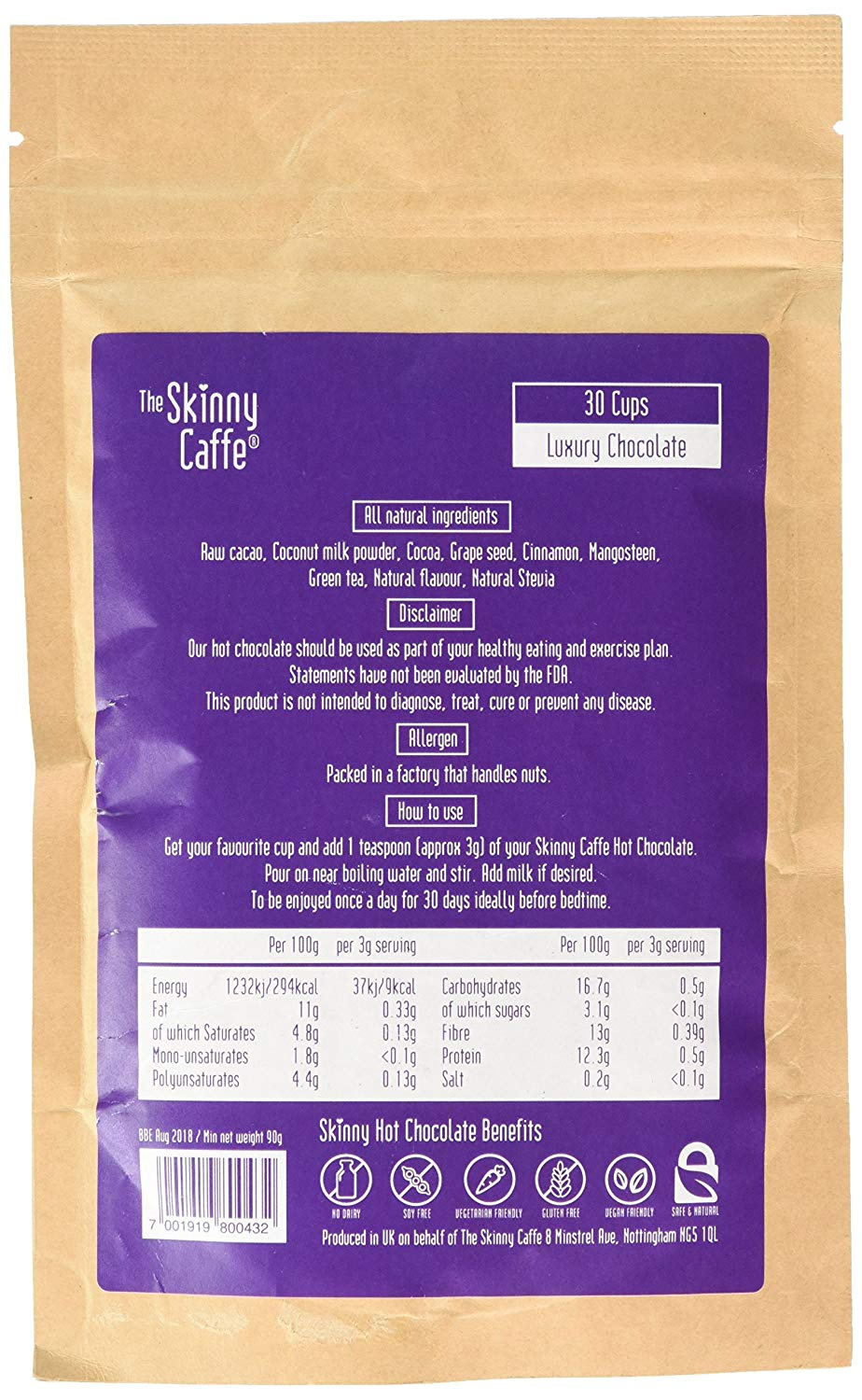 The Skinny Caffe Weight Loss Hot Chocolate - 30 Day Supply - Luxury  Chocolate