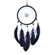 """Dreamcatcher for good dreams with pearls and real feathers black Ø 5.51"""" - 14 cm"""