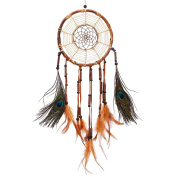 Soledi Dream Catcher Lucky Charm Exquisite Embroidery Bamboo Circle Brown