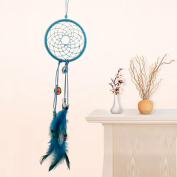 A-SZCXTOP Classical Blue Dream Catcher With Feathers Bedroom Or Wall Hanging Ornament 12cm Diameter/45cm Length