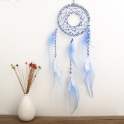 A-SZCXTOP Handcraft Dream Catcher Wall Hanging Car Hanging Decoration Blue & White Feather Ornament Gift