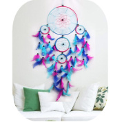 Dream Catcher Colourful Handmade Rainbow Large Blue Pink and Purple Feather Dream Catchers Ornament