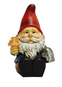 Hi-Line Gift Ltd Solar LED Gnome Sitting with Watering Can and Glowing Mushroom