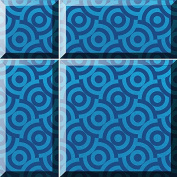 Alfa/Cer 5902027023275 Bisselglas Glass Tiles with Bevel, Metallic Blue, 29.8 x 29.8 cm