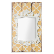 montemaggi aml108 Vintage Panel with Frame and Mirror Shaped, Wood, yellow/Ivory, 48 x 3 x 80 cm