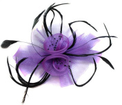 Cadbury Purple Butterfly Black Feather Wedding Ascot Fascinator on Comb Hat Hair Accessories
