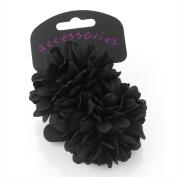 2 x Girls Black Flower Ponios/ Hair Elastics/ Bobbles by Chelsea Jones