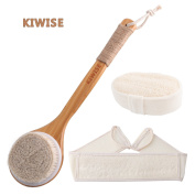 3-Pcs Horsehair Bath Brush Set, with Loofah Back Scrubber and Hand-held Sponges, Bamboo Body Back Brush for Exfoliating and Cellulite Reducing for Women and Men