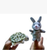 M-G-X 2Pcs Finger Puppets Set Toy Children's Learn Play Story Fable for hare and turtle