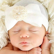 baleba Newborn Hospital Hat Newborn Baby Hats With Pretty Bow Flower Pearl