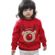 BESTOPPEN Baby Girl Boy Christmas Jumpers Red,Baby Kids Cute Winter Warm Jumper Sweatshirt Lovely Long Sleeve Tops Deer Print Christmas Outfit Christmas Party Costumes Size for 1-4 Years Old