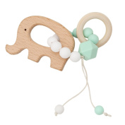 Lalang Elephant Wooden Teething Ring with Silicone Beads Organic Wooden Baby Teethers