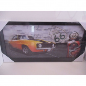 Route 66 American Car 3D Decor Frame 53x26 cm