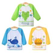 Baby Bibs, HBF 3 PCS Waterproof Long Sleeve Baby Bib Soft Comfortable Lovely Cute Baby Feeding Bibs
