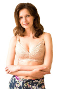 Knot & Dunlin Dhalia - Nursing and Hands-Free Pumping Bra – Full Coverage and Support, Chic Lace, No Underwire – Beige