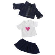 3 pcs Denim Jacket + T-shirt Tops + Skirt Dress for 46cm American Girl Our Generation My Life Doll Outfit Suit Clothes Set Doll Accessories