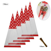 Candy Bags,MEZOOM 100 Pcs Cellophane Cone Treat Party Bags with Gold Twist Ties for Christmas Wedding Cookie Gift Candy Buffet Supply
