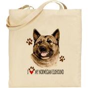 Dave Wenzel Norwegian Elkhound Print Natural Cotton Bag