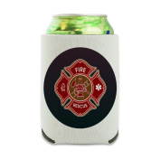 Firefighter Fire Rescue Maltese Cross Can Cooler - Drink Sleeve Hugger Collapsible Insulator - Beverage Insulated Holder