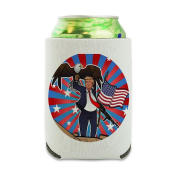 Patriotic Donald Trump with Eagle American Flag Gun Can Cooler - Drink Sleeve Hugger Collapsible Insulator - Beverage Insulated Holder