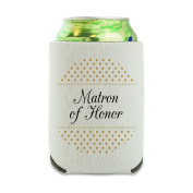 Matron of Honour Wedding Elegant Polka Dots Can Cooler - Drink Sleeve Hugger Collapsible Insulator - Beverage Insulated Holder