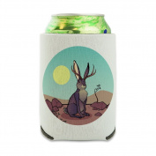 Cartoon Jackalope Can Cooler - Drink Sleeve Hugger Collapsible Insulator - Beverage Insulated Holder