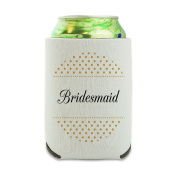 Bridesmaid Wedding Elegant Polka Dots Can Cooler - Drink Sleeve Hugger Collapsible Insulator - Beverage Insulated Holder