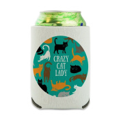 Crazy Cat Lady Teal Orange Black Brown Can Cooler - Drink Sleeve Hugger Collapsible Insulator - Beverage Insulated Holder