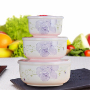 Microwave oven for fresh-keeping bowl ceramic lunch box with lid sealed bubble bowl.three.,B