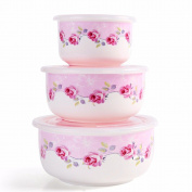 Ceramic bento box for microwave oven/with lid refrigerator fresh-keeping sealed bowl bowl (three),A