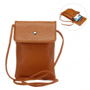 Women's Fashion Cellphone Pouch Bag HuaForCity Multi-Functional Leisure Sports Universal Soft Touch PU Leather 16cm Mini Crossbody Single Shoulder Bag with Adjustable Shoulder Strap Brown