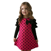 Tione-Ve Toddler Kids Boneby Girls Long-Sleeved Dot Bow Princess Dress Sundress Outfits Clothes by