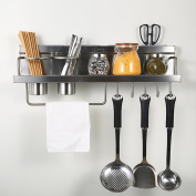 WENZHE Kitchen Storage Rack Spice Cooker Shelf Wall Mounted Spice Rack Stainless Steel Multifunction, 600 * 145mm