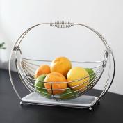 WENZHE Fruit plate Rack Dish Bowl Creative Drain Basket Portable Stainless Steel, 33 * 25cm fruit holder