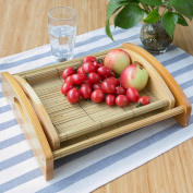 WENZHE Fruit plate Rack Dish Bowl Creative Pastry Plate Bamboo Multifunction, Big / Small fruit holder