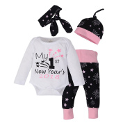 Weant Christmas Newborn Baby Boys Clothes Winter Home Outfits Pyjamas Set My 1st Newyear 4PCS Tops + Pants + Cap Clothing for Bbay Boy Girl