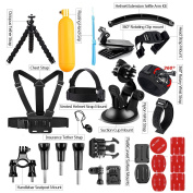 AKASO Accessories Kit for GoPro Hero/ AKASO Vemont Victure APEMAN VicTsing WIMIUS ODRVM Bopower Action Camera, Accessory Bundle with Chest Strap/ Suction Cup/ Bike Mount/ Anti-fog Inserts
