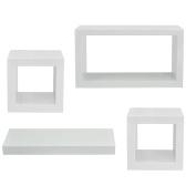 Popamazing Set of 4 Floating Wall Cube Shelf Storage Display Unit Cubes Shelves Racks