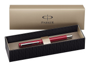 Parker Vector Stainless Steel Trim Fountain Pen with Medium Nib, Gift Box - Red