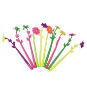 erthome 10pcs Random Colour Cute Flower And Leaf Pressing Classic Cartoon Gel Pen Ballpoint Pen