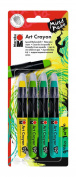 Marabu 014000200 Art Crayon Assortment Green Jungle, 4 Pens