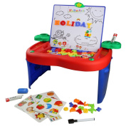 Kids Drawing Board Apple Learning Desk with Magnetic Letters Numbers Portable Double Face Childrens Toys