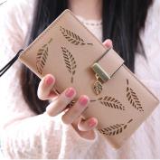 Women Leaf Bifold Wallet Fcostume Leather Clutch Card Holder Purse Lady Long Handbag