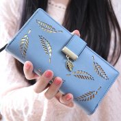 Women Leaf Bifold Wallet Fcostume Leather Clutch Card Holder Purse Lady Long Handbag
